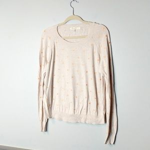 Anthropologie Comme Toi embroidered polka dot top